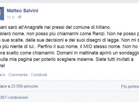 """Salvini. Domani all'anagrafe per cambiare nome. """"Non posso avere lo stesso nome di Renzi""""."""