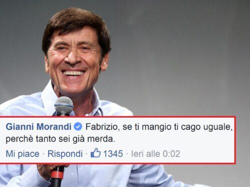 """Morandi ad un fan che lo insulta: """"Se ti mangio ti cago uguale perché sei già merda""""."""